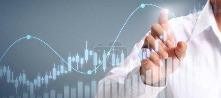 Photo pour Croissance du graphique du plan d'affaires et augmentation des indicateurs positifs du graphique dans son entreprise - image libre de droit