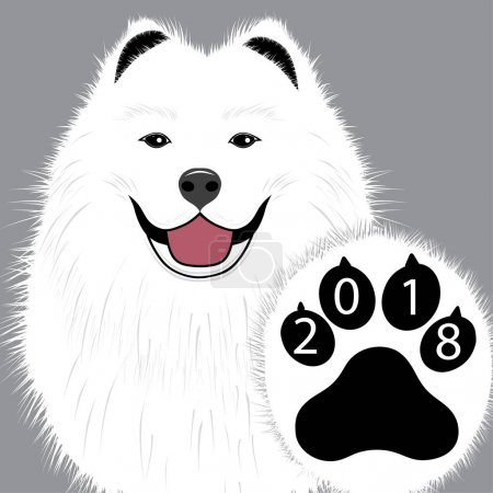 Puppy animal tattoo of Chinese New Year of the Dog samoyed vector file organized in layers for easy editing.