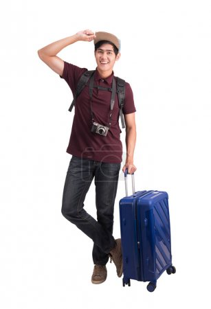Photo for Young asian traveler man with suitcase and camera isolated on white background - Royalty Free Image