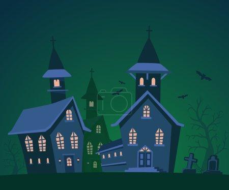 Vector halloween illustration of haunted house, cemetery, bats w