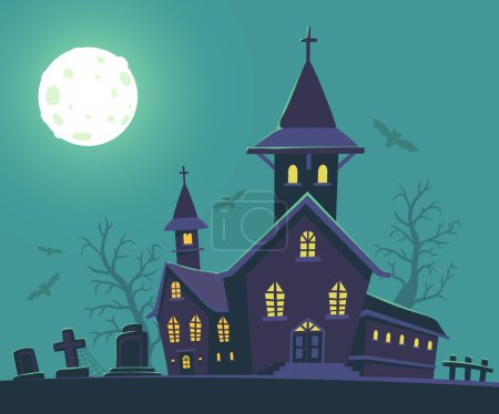 Vector halloween illustration of haunted house, cemetery, bats,