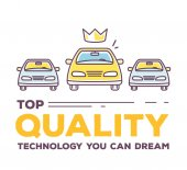 Vector creative illustration of three cars with header typograph