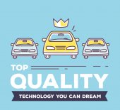 Vector creative illustration of three yellow cars with header on