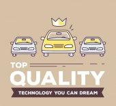 Vector creative retro color illustration of three cars with head