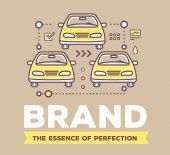 Vector creative retro color illustration of yellow cars with lin
