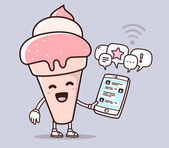 Vector illustration of pink color smile ice cream holding phone
