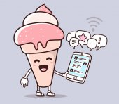 Vector illustration of pink color smile ice cream holding phone on purple background Chatting cartoon concept Doodle style Thin line art flat design of character ice cream for mobile communication theme