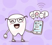 Vector illustration of smile white tooth holding phone on purple background Chatting cartoon tooth dentistry concept Doodle style Thin line art flat design of character tooth for mobile communication