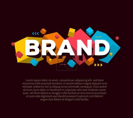 Vector creative template with illustration of three dimensional abstract colorful cube shapes and word brand with text on dark background. Branding business concept. 3d fun style design of word brand for branding web page, site, banner, presentation