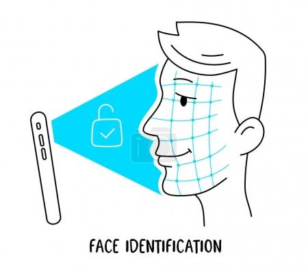 Vector illustration of human head and new mobile phone with face