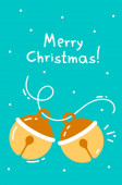 Vector illustration of colorful christmas dexter bell with text