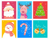 Vector set of christmas illustration of reindeer snowman decor