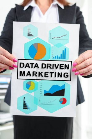 Data driven marketing concept shown by a businesswoman