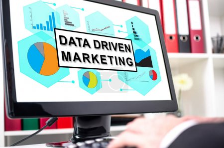 Data driven marketing concept on a computer screen