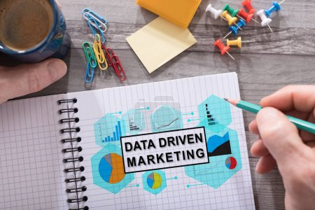 Data driven marketing concept on a notepad