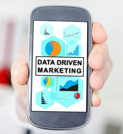 Data driven marketing concept on a smartphone