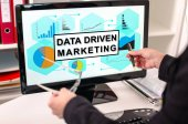 Data driven marketing concept on a computer monitor