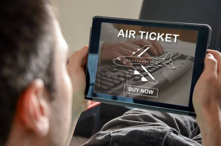 Photo for Air ticket booking concept on a tablet - Royalty Free Image