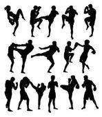 Muay Thai Or Kickboxing Silhouettes