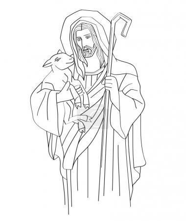 Jesus Christ is the good shepherd, art sketch or d...