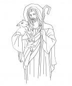 Jesus Christ is the good shepherd art sketch or drawing