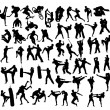 Extreme Sport and Martial Art Silhouettes, art vec...