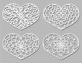 Set of Vector Stencil lacy hearts with carved openwork pattern Template for interior design layouts wedding invitations gritting cards envelopes decorative art objects Image suitable for laser cutting plotter cutting or printing Stock vector