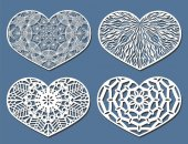 Set of Vector Stencil lacy hearts with carved openwork pattern
