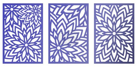 Illustration for Set of Vector Laser cut panels with flowers. Pattern template for decorative panel. Wall vinyl art decor. Stock vector. - Royalty Free Image