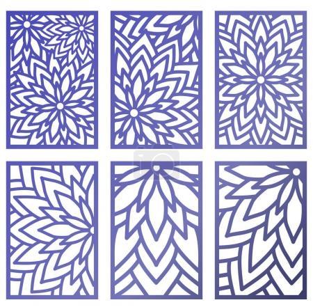 Illustration pour Ensemble de panneaux vectoriels découpés au laser avec des fleurs. Modèle de modèle pour panneau décoratif. Décor art mural en vinyle. Vecteur de stock . - image libre de droit