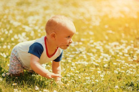 Crawling baby in the park