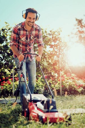 Man cutting grass