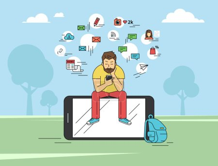 Joven sentado en el parque y mensajes de texto mensajes con smartphone