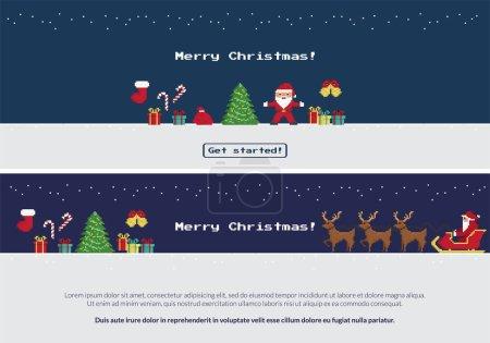 Pixel christmas banners set