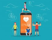 Health care mobile app concept illustration Young men and women are standing near big smartphone with app for sport and fitness tracking heart beating data and getting information of pulse rate