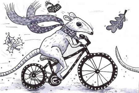 rat on the bike