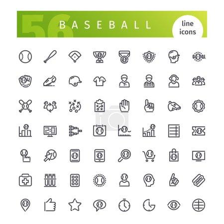 Baseball Line Icons Set