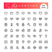 Set of 56 Valentines Days line icons suitable for your romance projects Isolated on white background Clipping paths included