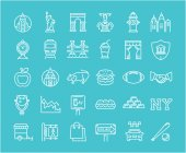 Set Vector Flat Line Icons New York