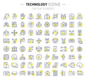 Set Vector Flat Line Icons Technology