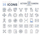 Set Vector Flat Line Icons Action Camera