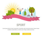 Flat line illustration of sport Concept for web banners and printed materials Template with buttons for website banner and landing page