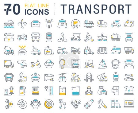 Photo for Set vector line icons in flat design transport, mechanics, electronics with elements for mobile concepts and web apps. Collection modern infographic logo and pictogram. - Royalty Free Image