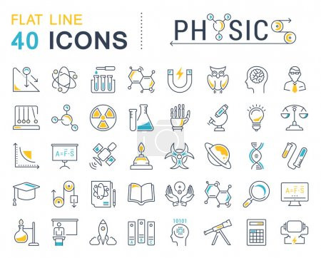 Illustration for Set vector line icons, sign and symbols in flat design physic with elements for mobile concepts and web apps. Collection modern infographic logo and pictogram. - Royalty Free Image