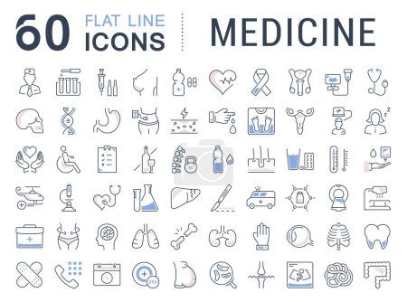 Illustration for Set vector line icons, sign in flat design medicine, pharmacology, oncology, blood count, medical ethics with elements for mobile concepts and web app. Collection modern infographic logo or pictogram. - Royalty Free Image
