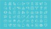 Set Vector Flat Line Icons Medicine