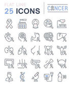 Set Vector Flat Line Icons Cancer