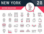 Set Vector Flat Line Icons New York