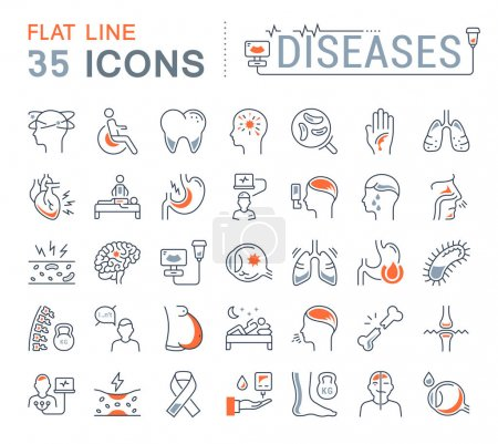 Set Vector Flat Line Icons of Ill