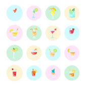 Set Vector Flat Icons of Coctails